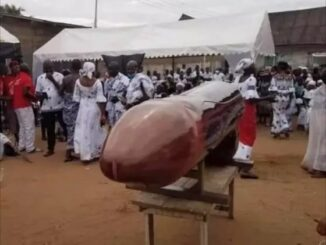 Slay Queen buried in manhood shaped coffin